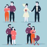 Couple in various situations of relationship. Steps or stages of happy family life. Aging. From girlfriend and boyfriend to marriage, husband, wife and pregnancy Royalty Free Stock Photo