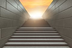 The steps on staircase leading to new challenges - 3d rendering Stock Photography