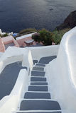Steps and stairs in oia village on santorini island Stock Image