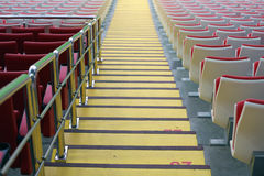 Steps between the stands at the stadium Royalty Free Stock Photos