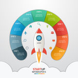 9 steps startup circle infographic template with rocket. Business concept. Vector illustration stock illustration