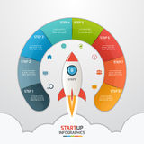 8 steps startup circle infographic template with rocket. Business concept. Vector illustration royalty free illustration