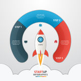 3 steps startup circle infographic template with rocket. Business concept. Vector illustration stock illustration