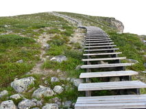 Steps on steep mountainside. Steps receding into distance on steep mountainside with white sky background Royalty Free Stock Image