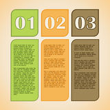 1,2,3 steps text boxes. 1,2,3 steps colorful text boxes in a box for step presentation, infographics, number options, progress or business design Stock Photography