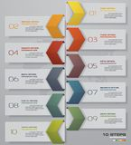 10 steps Timeline arrow infographic element.  EPS 10. 10 steps Timeline arrow infographic element. 10 steps infographic, vector banner can be used for workflow Stock Photos