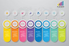 8 steps timeline infographic element. EPS 10. 8 steps timeline infographic element. 8 steps infographic, vector banner can be used for workflow layout, diagram vector illustration