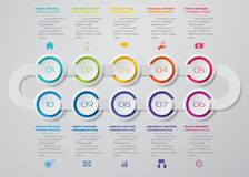 10 steps Timeline infographic element. 10 steps infographic. EPS 10. 10 steps Timeline infographic element. 10 steps infographic, vector banner can be used for royalty free illustration