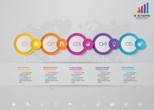 5 steps timeline infographic element. EPS 10. 5 steps timeline infographic element. 5 steps infographic, vector banner can be used for workflow layout, diagram royalty free illustration