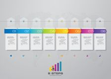 8 steps timeline infographic element for presentation. EPS 10 stock illustration
