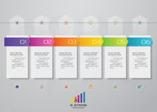 6 steps timeline infographic element for presentation. 6 steps timeline infographic element. 6steps infographic, vector banner can be used for workflow layout stock illustration