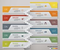 10 steps Timeline infographic element. 10 steps infographic with stairs. EPS 10 Stock Images