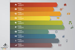 10 steps Timeline infographic element. 10 steps infographic, vector banner can be used for workflow layout. Royalty Free Stock Image
