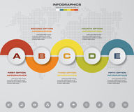 5 steps Timeline infographic element. 5 steps infographic, vector banner can be used for workflow layout. 5 steps Timeline infographic element. 5 steps Stock Illustration