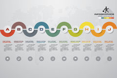 10 steps Timeline infographic element. 10 steps infographic, vector banner can be used for workflow layout, diagram,presentation,. Education or any number Royalty Free Stock Photo