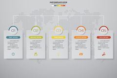 5 steps Timeline infographic element. 5 steps infographic, vector banner can be used for workflow layout, diagram,presentation. 5 steps Timeline infographic Royalty Free Stock Images