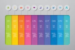 10 steps Timeline infographic element. 10 steps infographic, vector banner can be used for workflow layout. 10 steps Timeline infographic element. 10 steps vector illustration