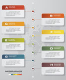 8 steps timeline infographic with global map background for business design Royalty Free Stock Image