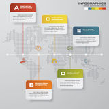 5 steps timeline infographic with global map background for business design. Time line description. 5 steps timeline infographic with global map background for royalty free illustration