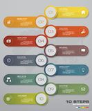 10 steps of timeline Infographic template. for your presentation. EPS 10. For your design and presentation Royalty Free Stock Image