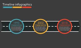 3 steps Timeline infographics with arrow from road. Three options or levels template. Vector illustration. 3 steps Timeline infographics with arrow from road royalty free illustration