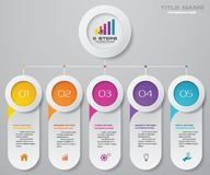 5 steps timeline for your presentation. EPS 10. 5 steps timeline infographic element. 5 steps infographic, vector banner can be used for workflow layout vector illustration