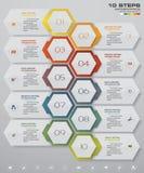 10 steps timeline for your presentation. Infographics design with 10 steps timeline for your presentation. EPS 10 Stock Illustration