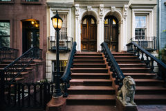 Steps to apartment buildings in Chelsea, Manhattan, New York. Stock Photos
