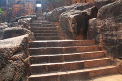 Steps to Badami Cave temples, Karnataka, India Stock Photos