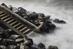 Steps to the beach at the Côte des Basques, Biarritz Royalty Free Stock Images