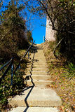 Steps to Cape Henry Lighthouse. Going up the stone steps Stock Photo
