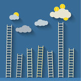 Steps to clouds. Concept of success. Vector flat illustration Royalty Free Stock Photo