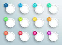 Steps 1 to 12 in 3d Bubbles Vector Infographic A. Infographic numbers in 3d Circles 1 to 12 as text bubbles arranged colourfully on a gradient background with Stock Photos