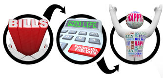 Steps to Financial Freedom Bills Reduce Debt. A diagram of bills, a calculator with the words A Good Life and a button reading Financial Freedom, and a happy Stock Photo