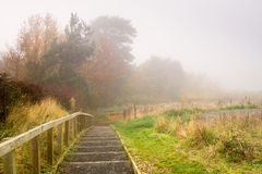 Steps to Flodden Monument in Fog Royalty Free Stock Image