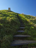 Steps to Glastonbury Tor stock photo