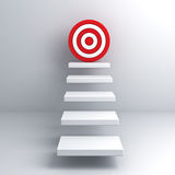 Steps to goal target business concept over white wall. Background Royalty Free Stock Photo