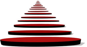 Steps to infinity. Red disc shaped steps leading to infinity in 3d Royalty Free Stock Image