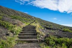 Steps to Kelimutu viewpoint stock photos
