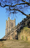 Steps to Lancaster Priory Church Stock Photo