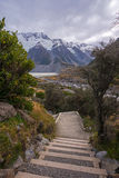 Steps to Mount Cook at Hooker Valley Track, New Zealand. Stock Photos