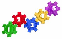 Steps 1 to 5 Numbers Gears Process System Stock Images