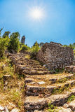 Steps to old ortodox church at moutains Stock Photo