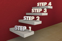 Steps 1 to 4 One Four Process Stairs Royalty Free Stock Photo