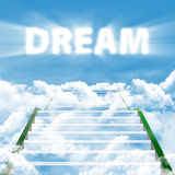 Steps to realize high dream. Illustration of a ladder leading upward to realize high dream Royalty Free Stock Image