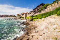 Steps to the rocky shore from the old town. SOZOPOL - AUGUST 9: Old City  embankment on August 9, 2015 in Sozopol, Bulgaria.ancient european city Sozopol on a Stock Photos
