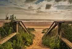 Steps to the sea. Steps lead to the beach at Mablethorpe,Lincolnshire Stock Image