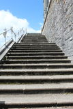 Steps to St Colman`s Cathedral, Cobh Ireland. Steps with a white metal railing heading to St Colman`s Cathedral, Cobh county Cork Ireland Royalty Free Stock Image