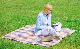 Steps to start freelancing business. Business lady freelancer work outdoors. Online business ideas concept. Woman with stock photo