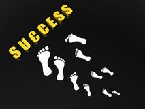 Steps to success. Several white footprints on black background near the word success.  Theme: Steps to success Stock Photography